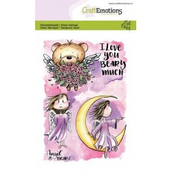 (1645)CraftEmotions clearstamps A6 - Angel & Bear 2 Carla Creaties