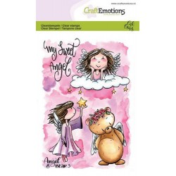 (1646)CraftEmotions clearstamps A6 - Angel & Bear 3 Carla Creaties