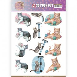 (SB10381)3D Pushout - Amy Design - Cats World - Playing Cats