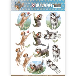 (SB10377)3D Pushout - Amy Design - Dog's Life - Playing Dogs