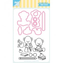 (6004/0041)Clear stamp / Stencil set Jocelijne - School bear