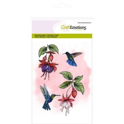 (1308)CraftEmotions clearstamps A6 - fuchsia hummingbird