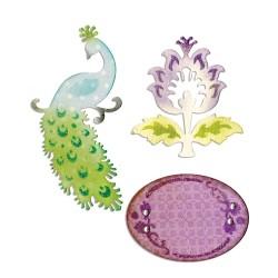 (659070)Thinlits Die Set 3PK - Peacock, Frame & Flower