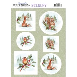 (CDS10012)Scenery - Yvonne Creations - Aquarella - Christmas Animals