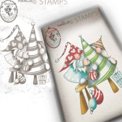 (PD7950)Polkadoodles Gnome Decorating The Tree Clear Stamp