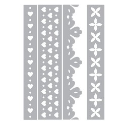 (658584)Thinlits Die Set 4PK - Hearts & Flowers Edges