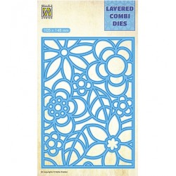(LCDB004)Nellie's Layered combi dies Rectangle Flowers-3 (Layer A)