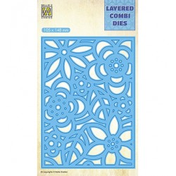 (LCDB005)Nellie's Layered combi dies Rectangle Flowers-3 (Layer B)