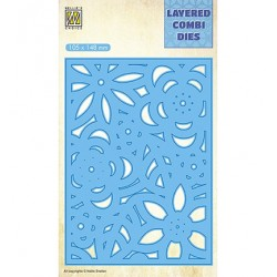 (LCDB006)Nellie's Layered combi dies Rectangle Flowers-3 (Layer C)