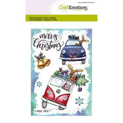 (1655)CraftEmotions clearstamps A6 - x-mass cars 1 Carla Creaties