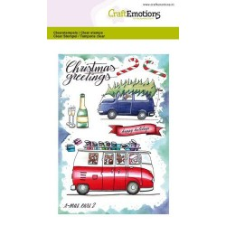 (1656)CraftEmotions clearstamps A6 - x-mass cars 2 Carla Creaties