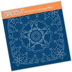 (GRO-CH-41298-03)Groovi Plate A5 TINA'S EMBROIDERY HOLLY & STAR