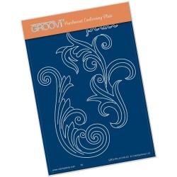 (GRO-PA-41310-02)Groovi® plate A6 FILIGREE SWIRLS - PEACE