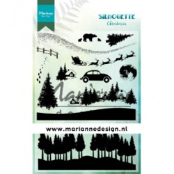 (CS1040)Clear stamp  Silhouette Christmas