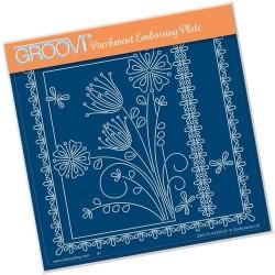 (GRO-FL-41332-03)Groovi Plate A5 TINA'S FLORAL DELIGHT - PRIMROSE