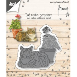 (6002/1358)Cutting embossing debossing dies Cat with geranium