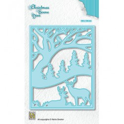 (CRSD009)Nellie's choice Christmas scene dies Deer in forest