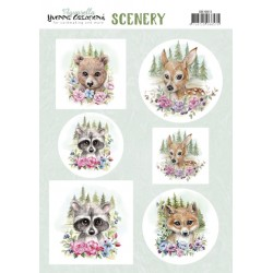 (CDS10013)Scenery - Yvonne Creations Aquarella - forest animals