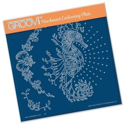 (GRO-AN-41365-03)Groovi Plate A5 CHERRY GREEN'S SEAHORSE & CORAL FLOURISH