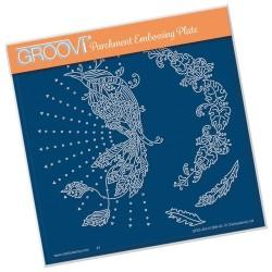 (GRO-AN-41366-03)Groovi Plate A5 CHERRY GREEN'S BIRD OF PARADISE & LEAFY FLOURISH