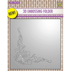 (EF3D006)Nellie's Choice Embossing folder Poinsetta Corner