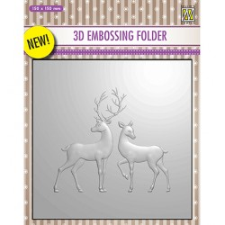 (EF3D008)Nellie's Choice Embossing folder Reindeer
