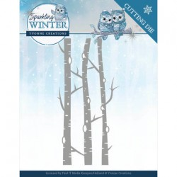 (YCD10188)Dies - Yvonne Creations - Sparkling Winter - Birch Trees