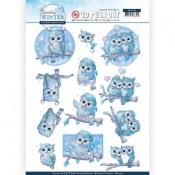 (SB10402)3D Pushout - Yvonne Creations - Sparkling Winter - Winter Owls