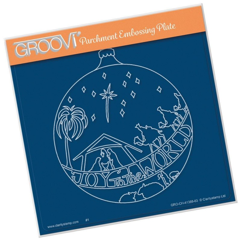 (GRO-CH-41388-03)Groovi Plate A5 JOY TO THE WORLD BAUBLE