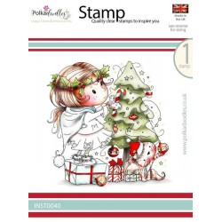 (INST0040)Polkadoodles stamp Winnie Decorating the tree