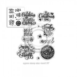 (PD7967)Polkadoodles Merry & Bright Christmas Greetings Clear Stamps