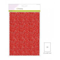 (001290/0145)CraftEmotions glitter paper 5 Sh red +/- 29x21cm 120gr