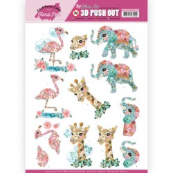 (SB10410)3D Pushout - Yvonne Creations - Floral Pink (Kitschy Lala) - Kitschy Animals