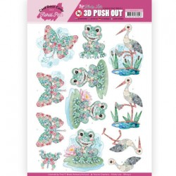 (SB10412)3D Pushout - Yvonne Creations - Floral Pink (Kitschy Lala) - Kitschy Frog