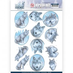 (SB10407)3D Pushout - Amy Design - Winter Friends - Winter Wolves