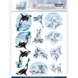 (SB10409)3D Pushout - Amy Design - Winter Friends - Sparkling Sealife