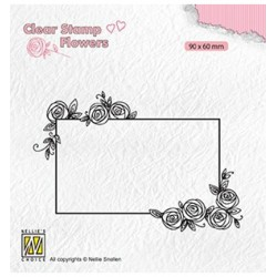 (FLO019)Nellie`s Choice Clearstamp - Rectangle frame with roses