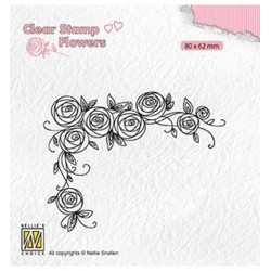 (FLO022)Nellie`s Choice Clearstamp - Roses corner