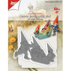 (6002/1369)Cutting embossing debossing dies Gnome family with sled