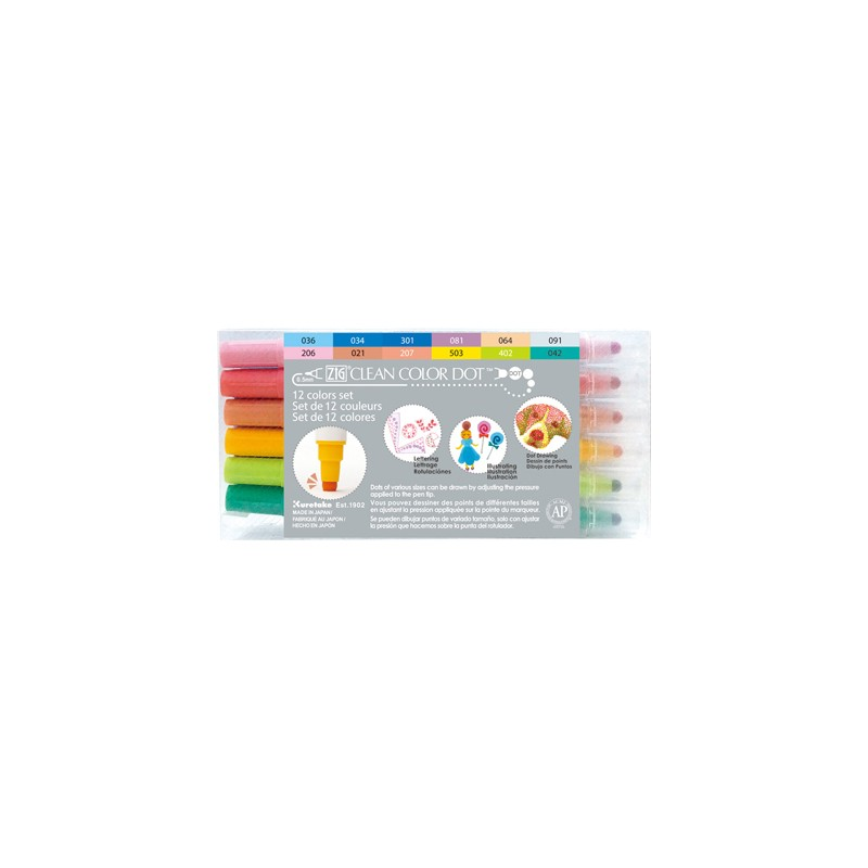(TC-6100/12V)Zig Clean Color Dot 12 color set