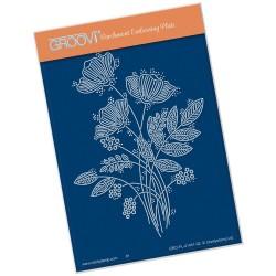 (GRO-FL-41401-02)Groovi® plate A6 TINA'S FLORAL SPRAY BOUQUET