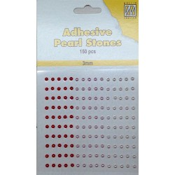 (APS301)Nellie`s Choice Adhesive pearls 3mm Red - Pink