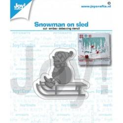 (6002/1420)Cutting embossing debossing dies snowman on sled