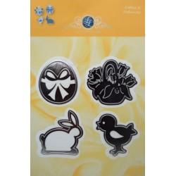 (1201/0058)Lin & Lene stencil Rabbit-chick-egg basket