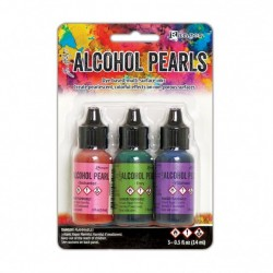 (TANK65531)Ranger • Tim Holtz alcohol pearls kit 3 Enchanted, Envy ,Villainous