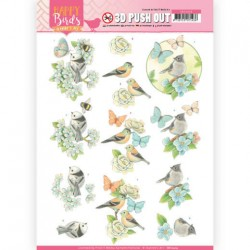 (SB10414)3D Pushout - Jeanine's Art - Happy Birds - Blue Dance
