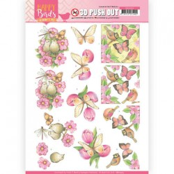 (SB10415)3D Pushout - Jeanine's Art - Happy Birds - Pink Dance