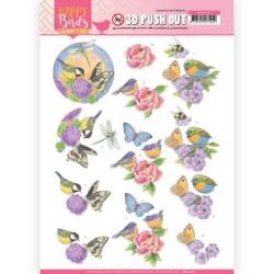 (SB10416)3D Pushout - Jeanine's Art - Happy Birds - Fragrant flowers