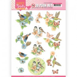 (SB10417)3D Pushout - Jeanine's Art - Happy Birds -Feathered Friends
