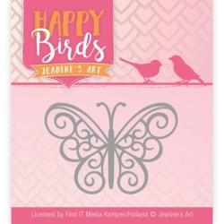 (JAD10096)Dies - Jeanine's Art - Happy Birds - Happy Butterfly